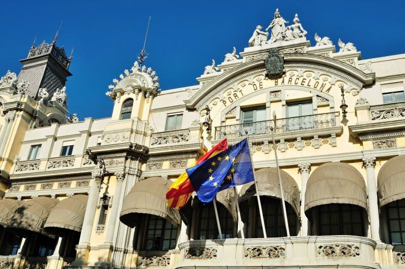 Fachada de la administración portuaria de Barcelona - España foto de archivo libre de regalías