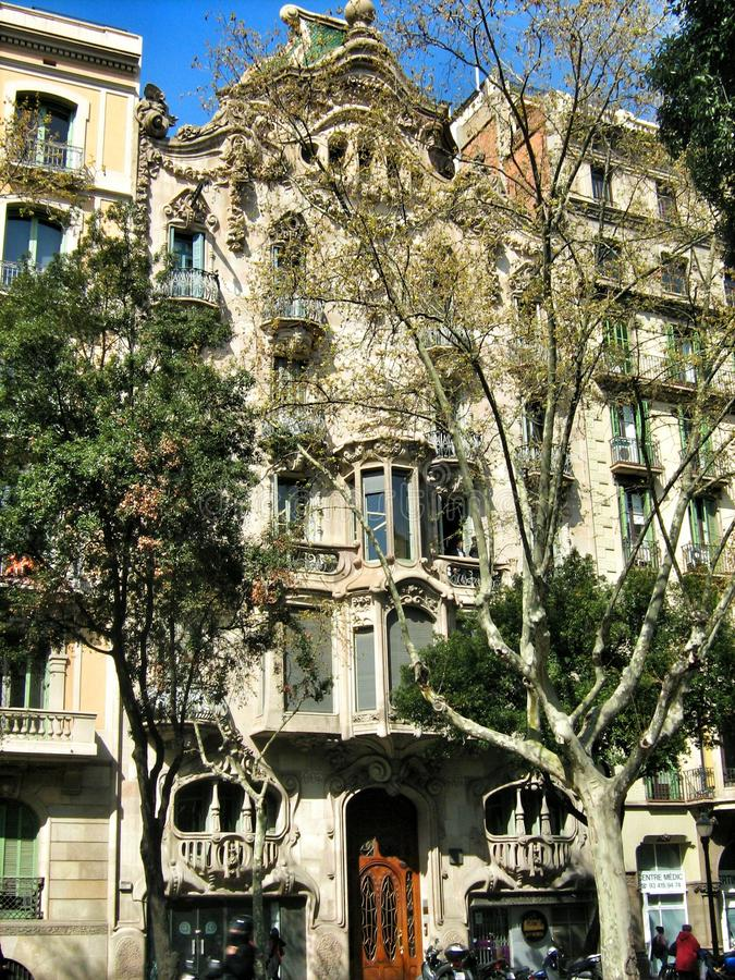 Fachada de la casa Batllo por Gaudi en Barcelona imagenes de archivo