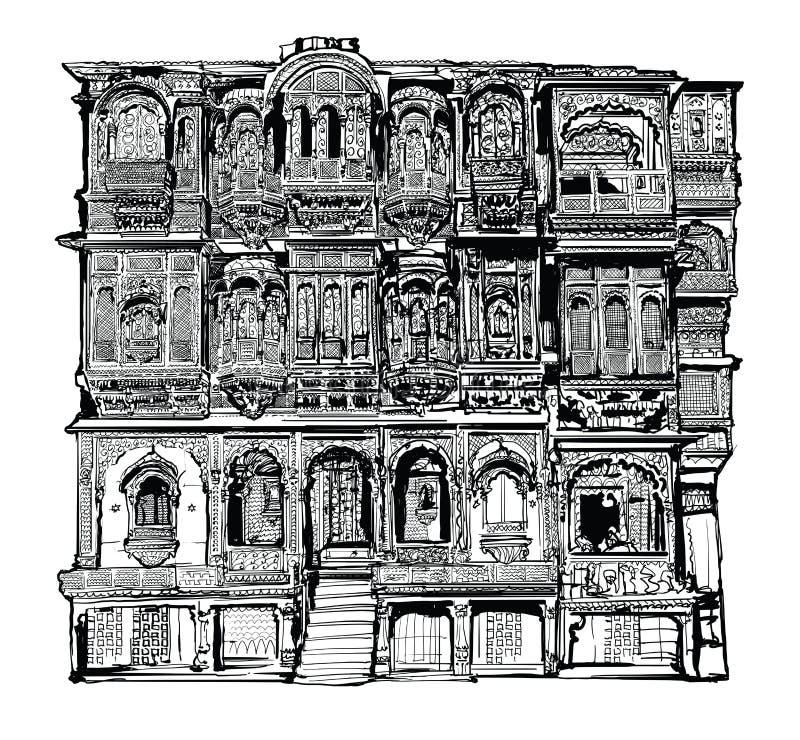 Fachada de la casa vieja con los balcones en Jodhpur, la India stock de ilustración
