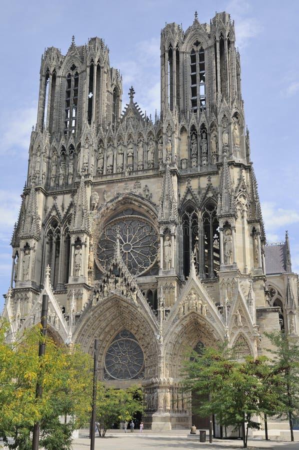 fachada de la catedral, Reims fotografía de archivo libre de regalías