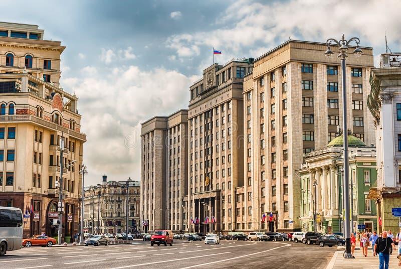 Fachada de la Duma de estado, edificio del parlamento del ruso Federat foto de archivo libre de regalías