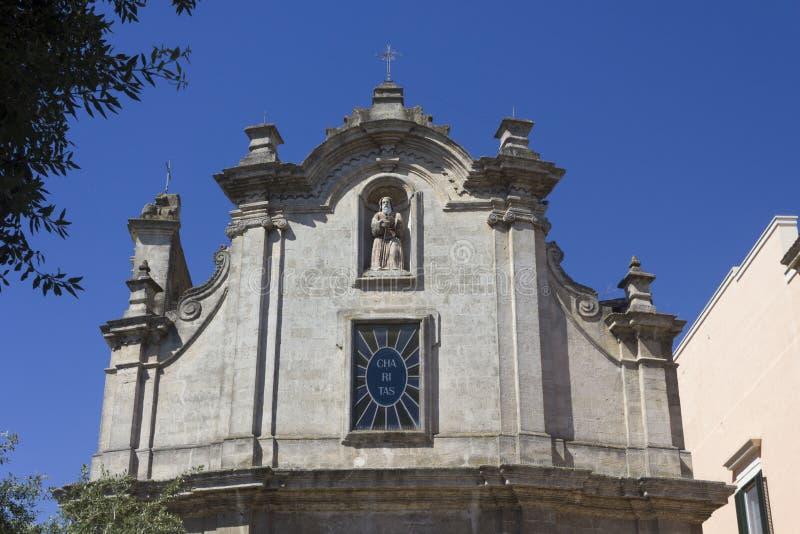 Fachada de la iglesia de San Francesco da Paola en Matera foto de archivo libre de regalías