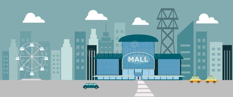 Fachada de la tienda constructiva de la casa del centro comercial del centro comercial libre illustration