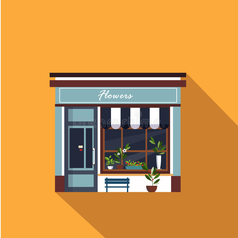 Fachada de los restaurantes y de las tiendas, vector del escaparate stock de ilustración