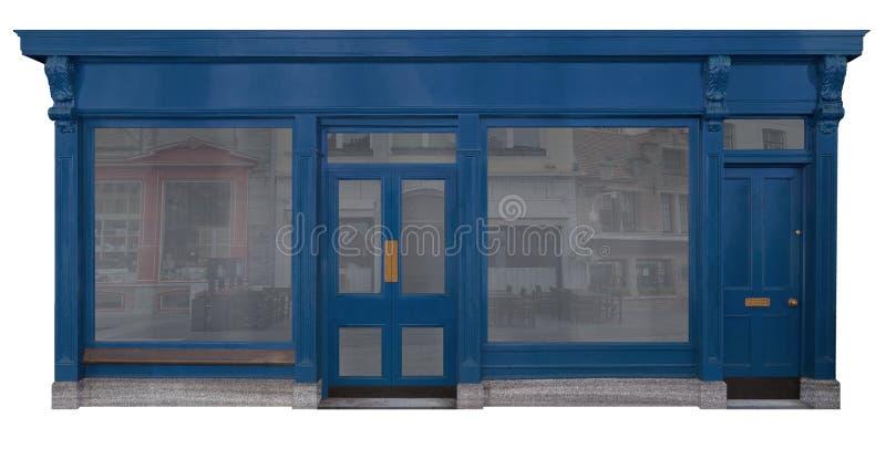 Fachada de madera laqueada azul de un cuarto de las ventas, aislado en el fondo blanco libre illustration