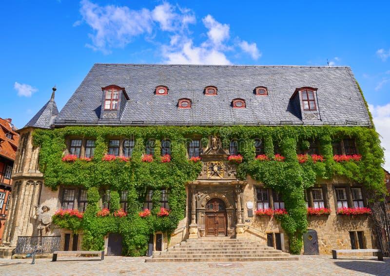 Fachada de Rathaus Quedlinburg em Harz Alemanha imagem de stock royalty free