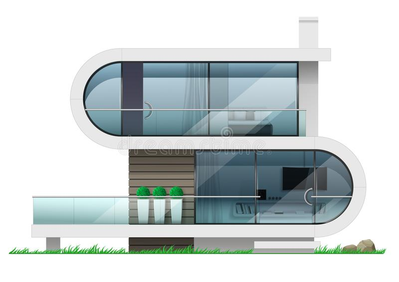 Fachada de uma casa futurista moderna ilustração royalty free