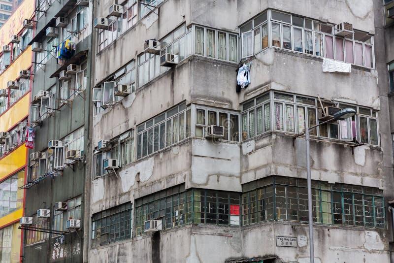Fachada de un edificio en Hong Kong imagenes de archivo
