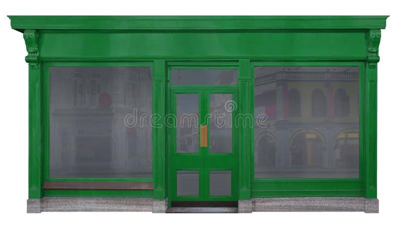 Fachada de una tienda con un frente de madera verde libre illustration