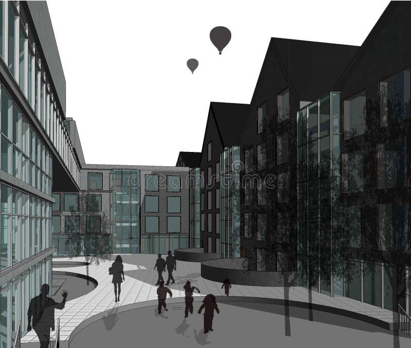 fachada de varios pisos de la casa 3D plana libre illustration
