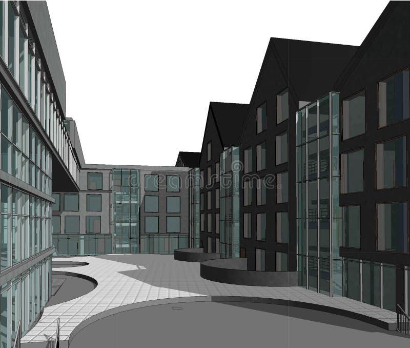 fachada de varios pisos de la casa 3D plana fotos de archivo