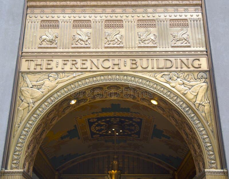 Fachada del art déco en Fred F. French Building en Manhattan imagenes de archivo