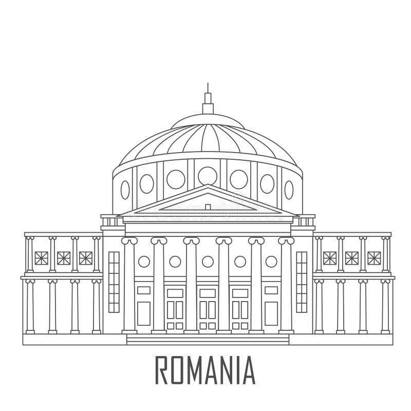 Fachada del Athenaeum rumano ilustración del vector