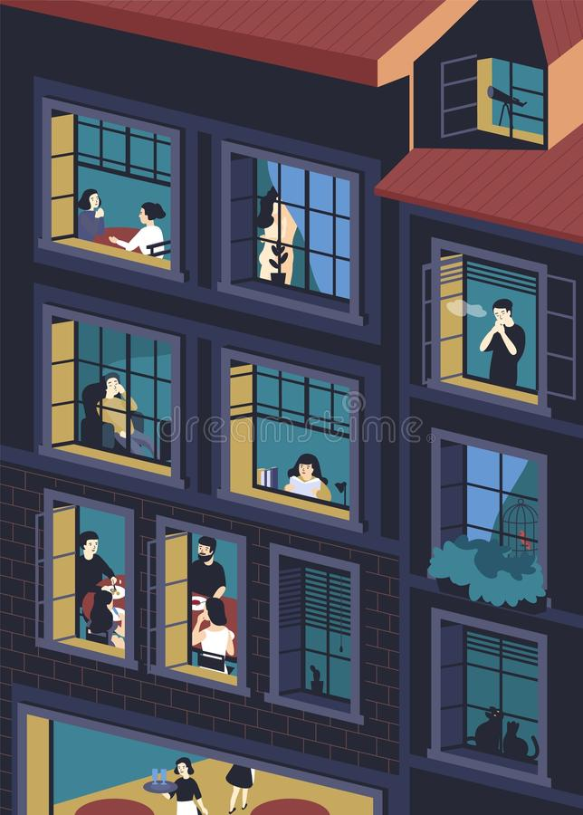 Fachada del edificio con las ventanas abiertas y la gente que viven dentro Hombres y mujeres que comen, fumando, leyendo, habland ilustración del vector