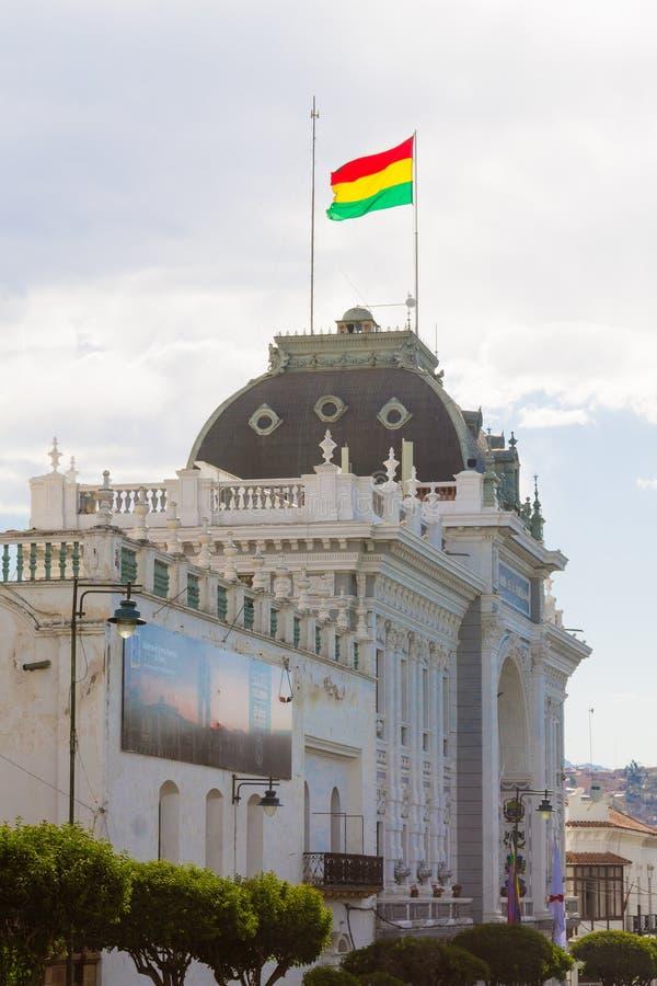 Fachada del edificio del gobierno, Sucre, Bolivia imagen de archivo