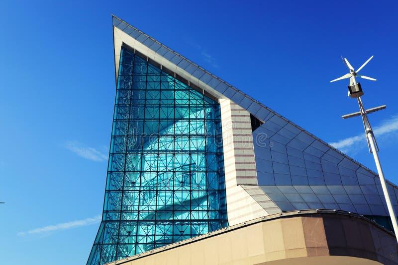 Fachada del edificio moderno de la sala de conciertos de Xinghai en la ciudad de Guangzhou, China Asia imagen de archivo