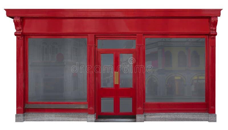 Fachada del escaparate con vista delantera roja en la madera aislada en el fondo blanco fotos de archivo