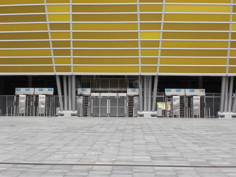 Fachada del estadio de Gdansk de la arena de PGE fotografía de archivo libre de regalías