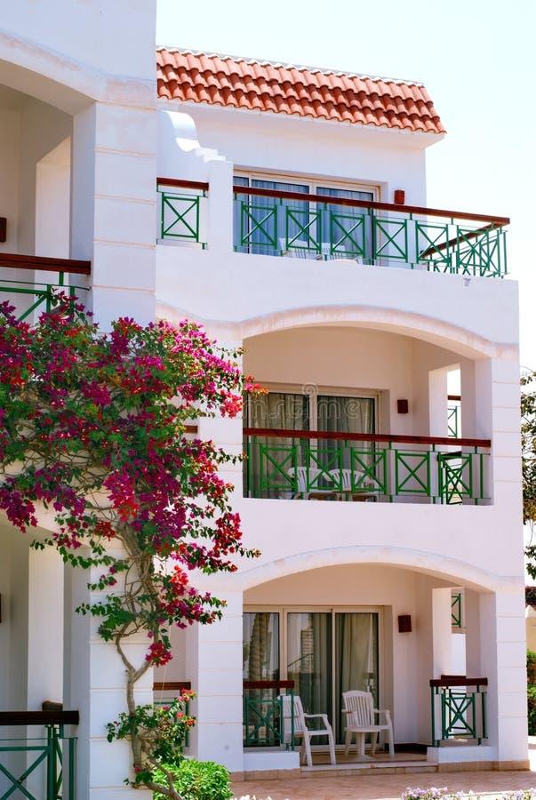 Fachada del hotel con los balcones y las ventanas for Balcones con plantas