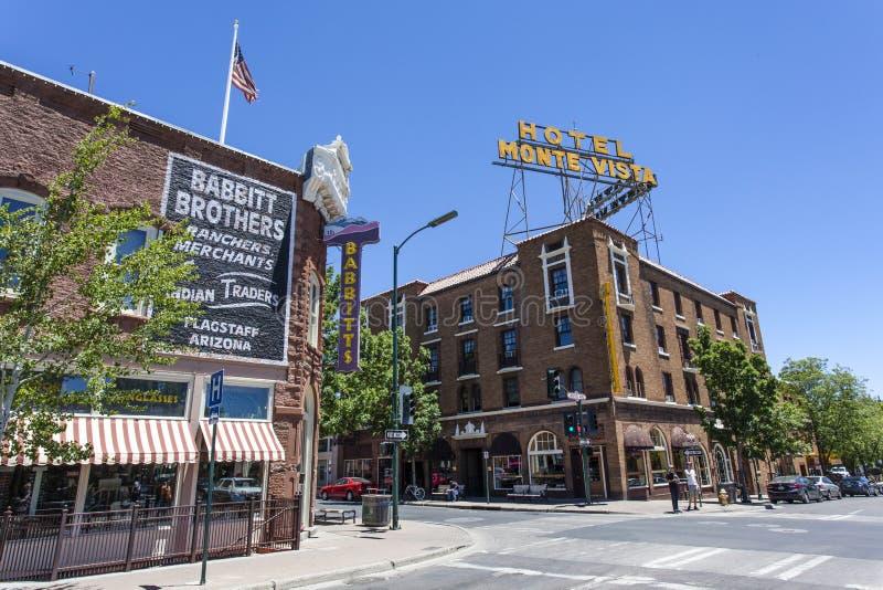 Fachada del hotel Monte Vista en el centro de la asta de bandera, Arizona imágenes de archivo libres de regalías