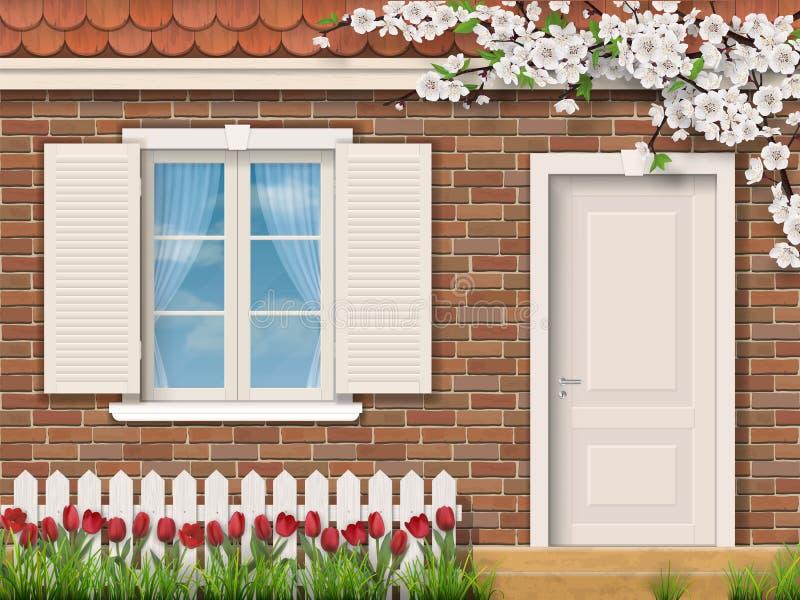 Fachada del ladrillo con los tulipanes de la cerca de la ventana libre illustration