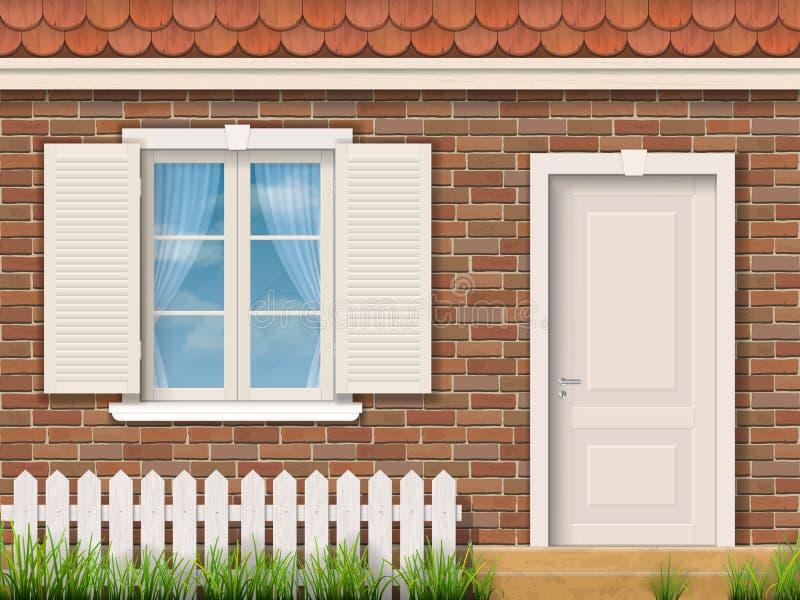 Fachada del ladrillo con una ventana blanca y una puerta stock de ilustración