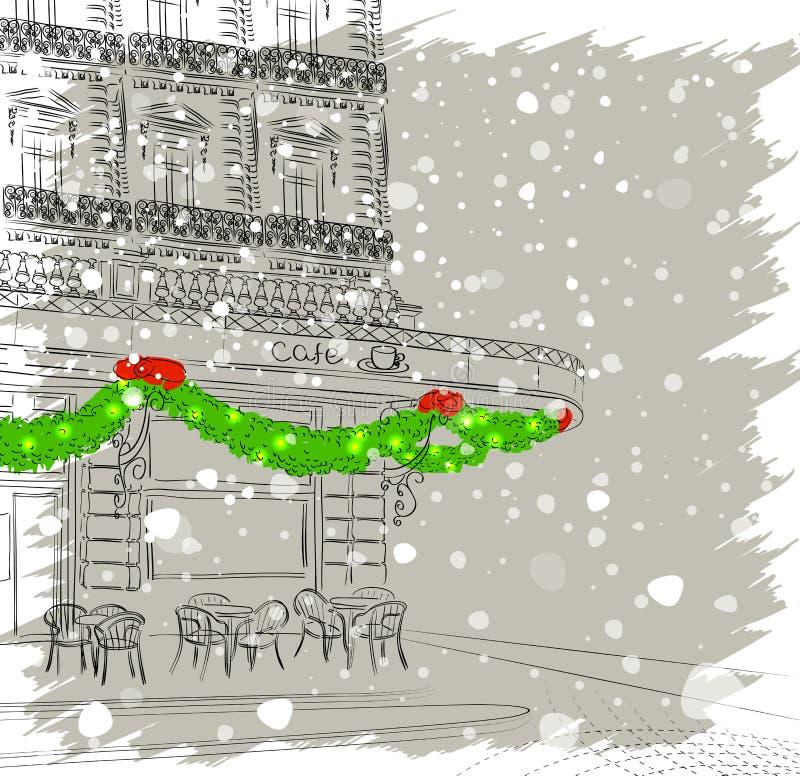 Fachada del restaurante con las decoraciones de la Navidad stock de ilustración