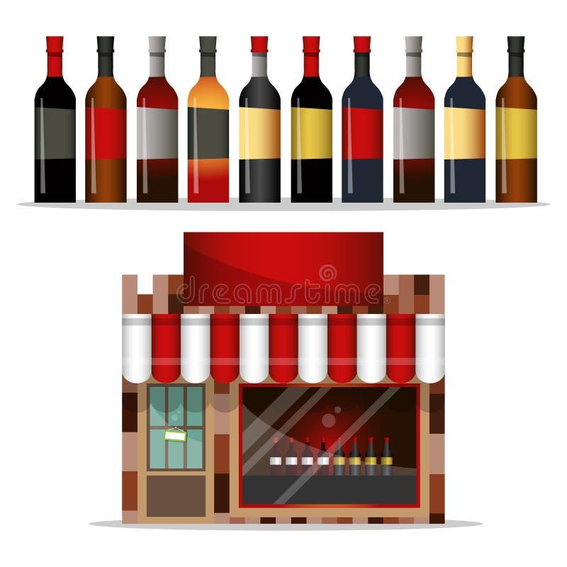 Fachada dianteira de uma loja de bebidas com uma grande janela da loja ilustração do vetor
