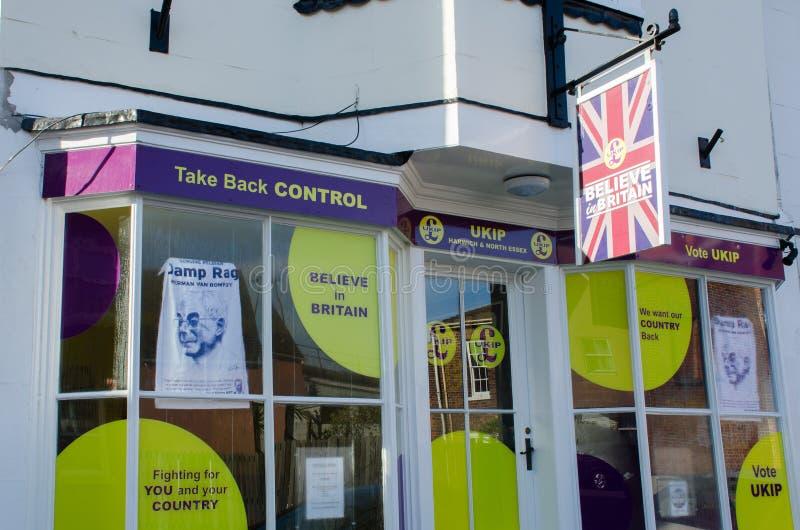 Fachada do escritório de UKIP em Harwich imagens de stock royalty free