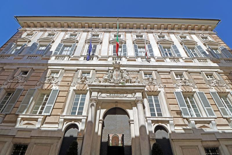 Fachada do palácio de Doria Tursi fotografia de stock royalty free