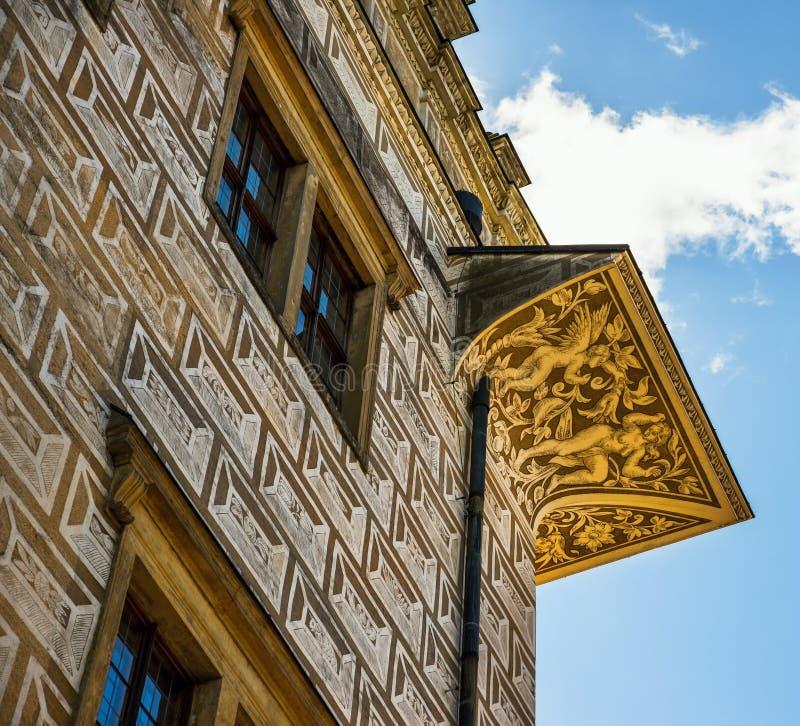 Fachada do renascimento com sgrafito, castelo de Litomysl, república checa imagem de stock