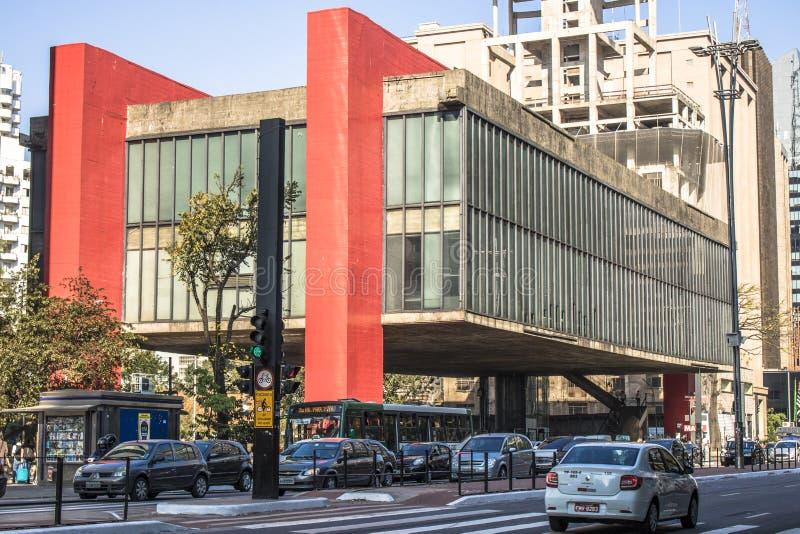 Fachada do Sao Paulo Museum da arte fotos de stock