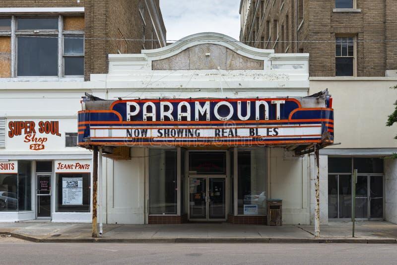 A fachada do teatro de Paramount em Clarksdale, Mississippi imagens de stock royalty free