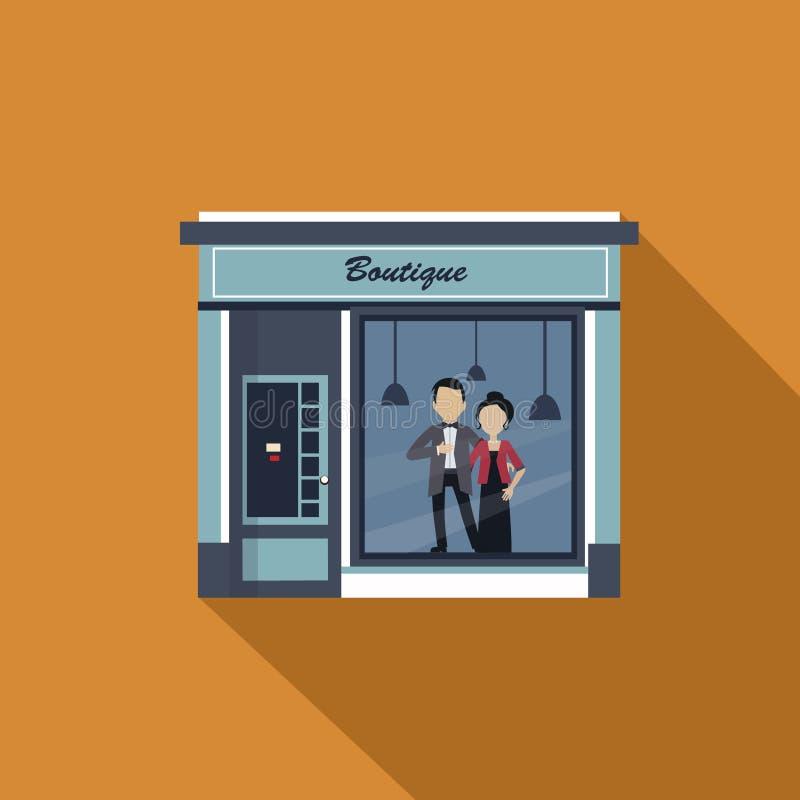 Fachada dos restaurantes e das lojas, vetor da montra ilustração stock