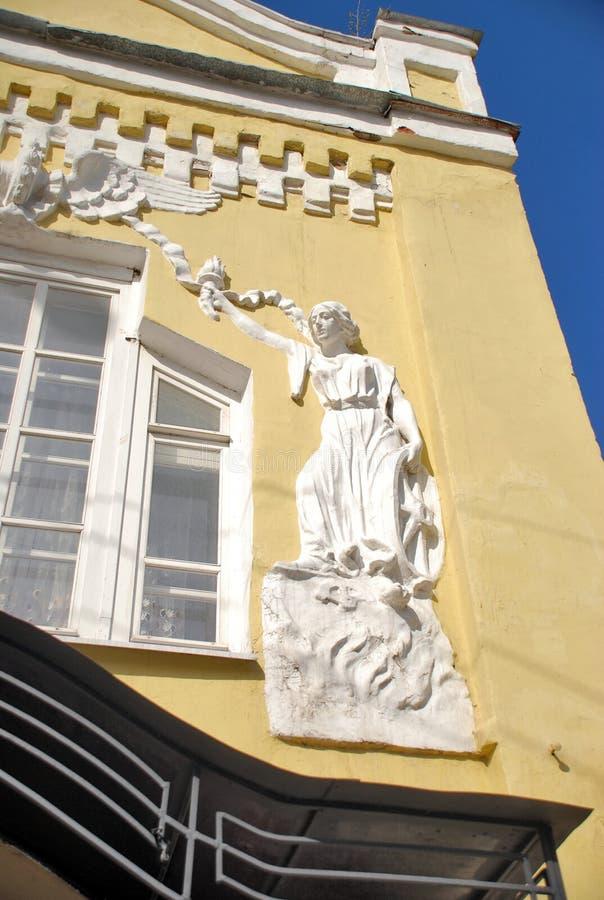 A fachada ensolarado com um bas-relevo foto de stock royalty free