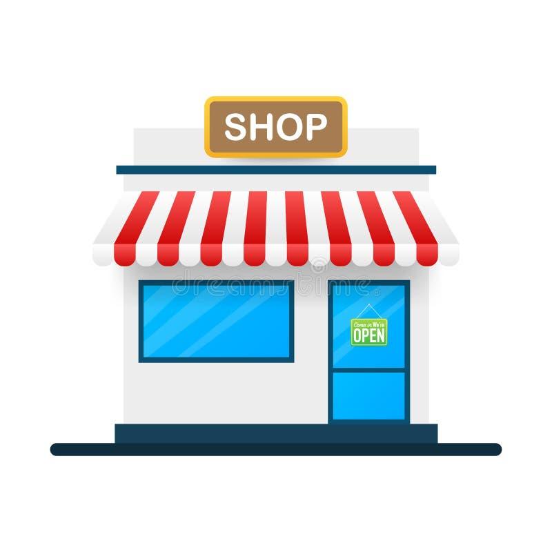 Fachada exterior dianteira da loja ou da loja do mercado Ilustra??o do vetor ilustração stock