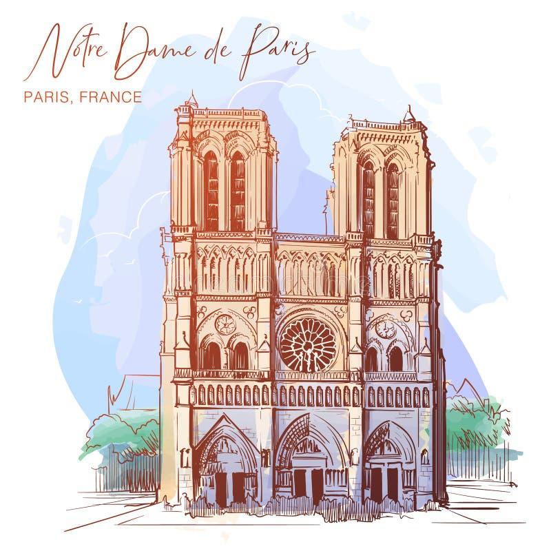 Fachada hermosa de la catedral de Notre Dame de Paris Bosquejo linear en un fondo texturizado acuarela stock de ilustración