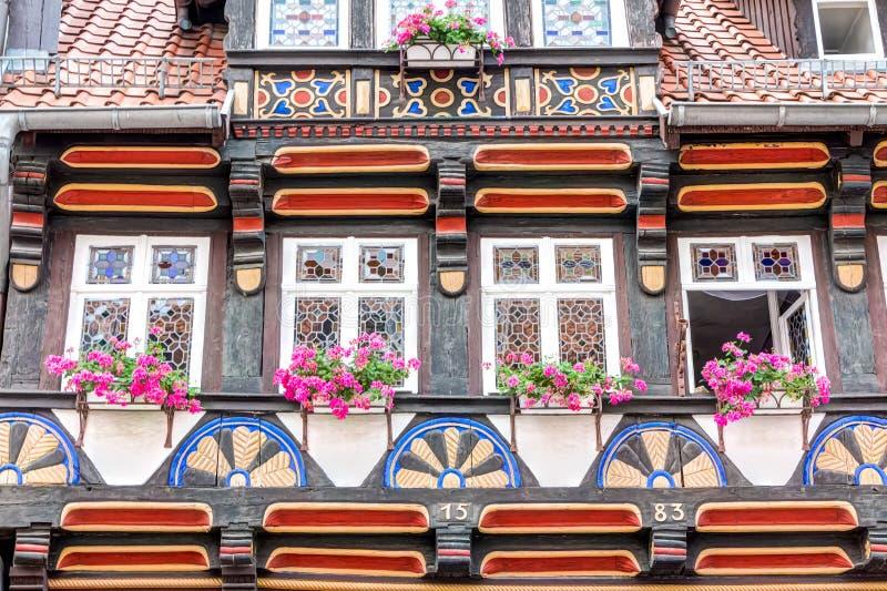 fachada Metade-suportada da casa em Wernigerode, Alemanha fotografia de stock royalty free