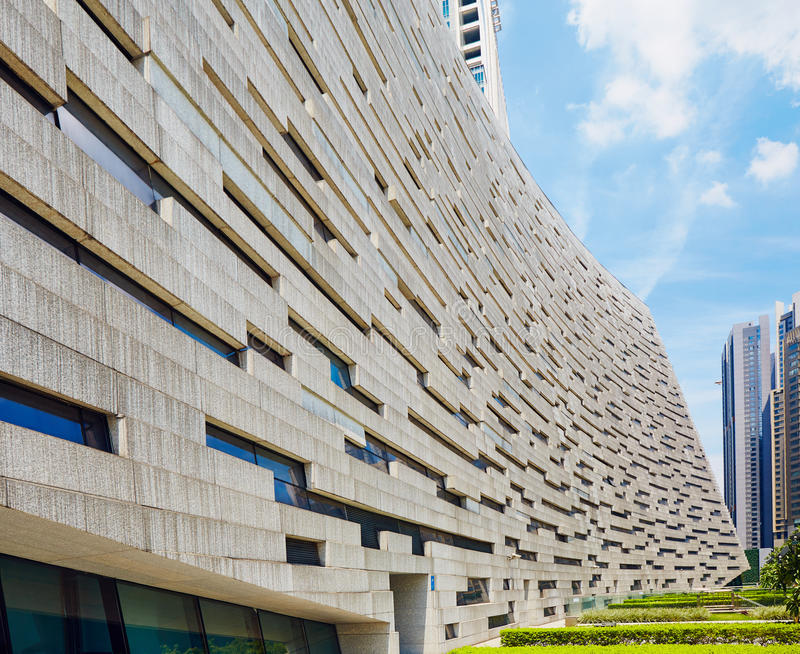 Fachada moderna da construção, biblioteca de Guangzhou fotos de stock