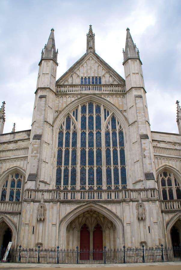 Fachada ocidental da catedral de Winchester imagens de stock royalty free