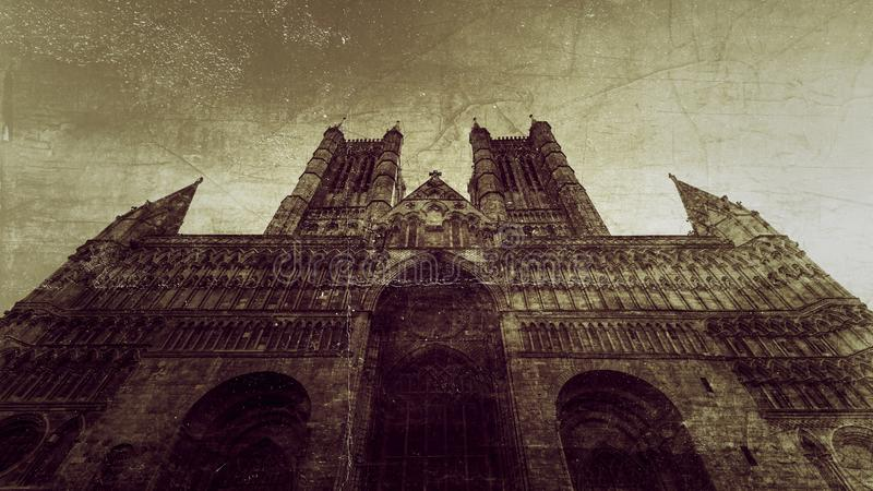 Fachada ocidental de Lincoln Cathedral Fine Art C fotografia de stock royalty free