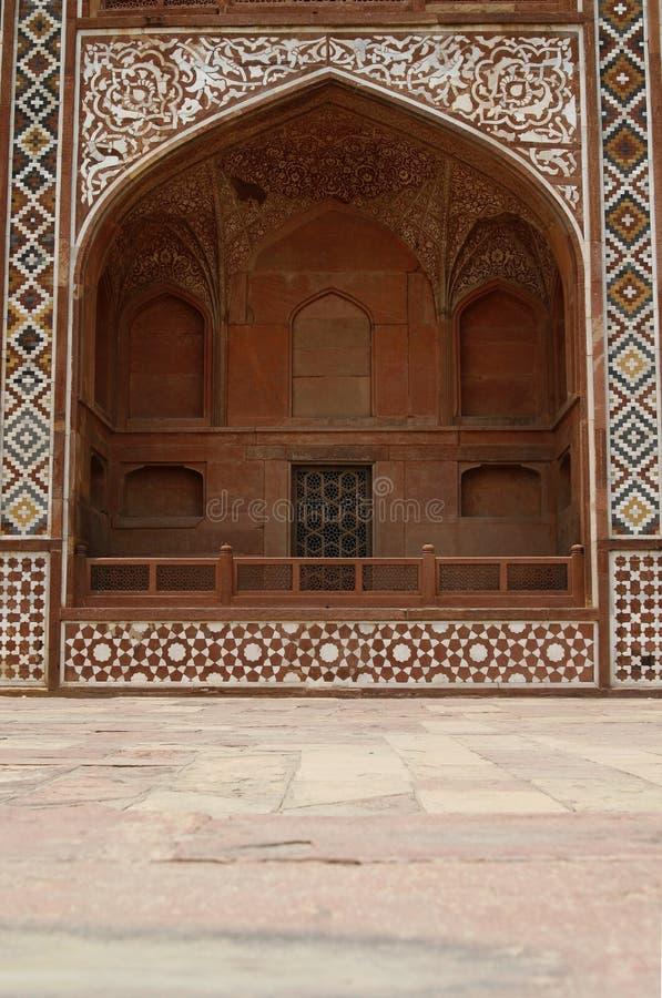 Fachada ornamentado do túmulo de Akbar. Agra, India