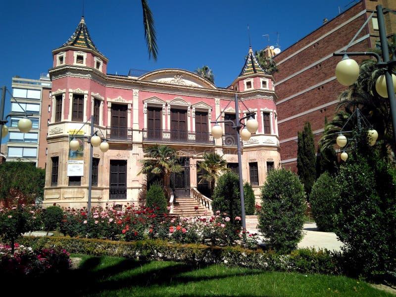 Fachada principal casa famosa do estilo eclético do século XIX de uma grande conhecida como a casa de Ruano na cidade de Lorca fotos de stock royalty free