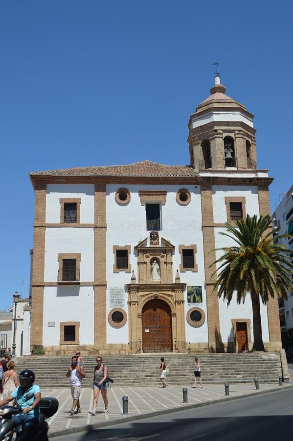 Fachada principal de la iglesia de Santa Maria La Mayor In Ronda fotos de archivo