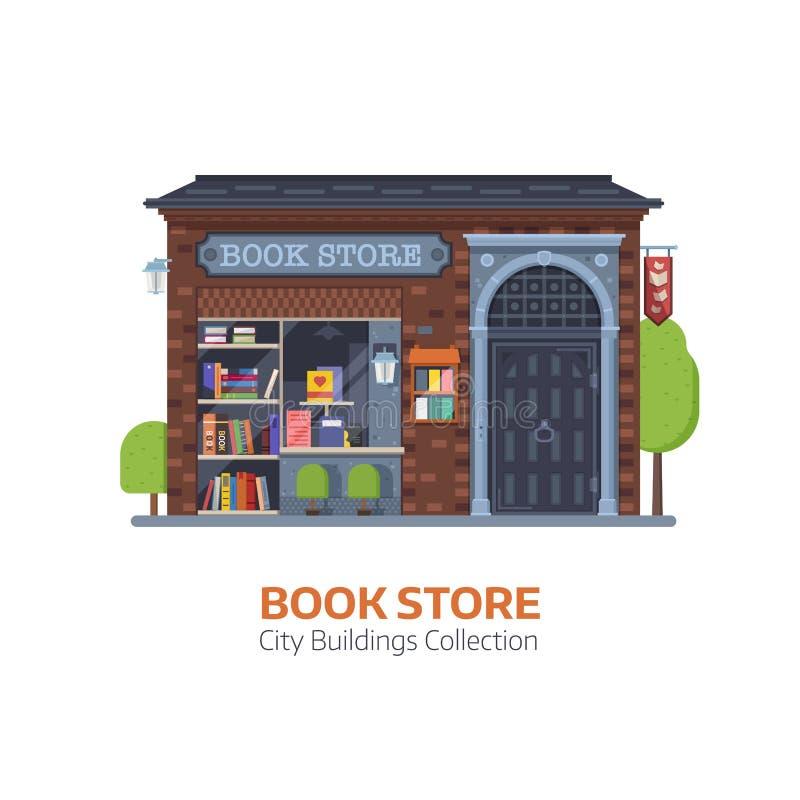 Fachada velha da construção de livrarias ilustração royalty free