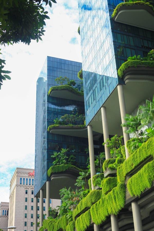 Fachada verde da natureza em moderno fotografia de stock