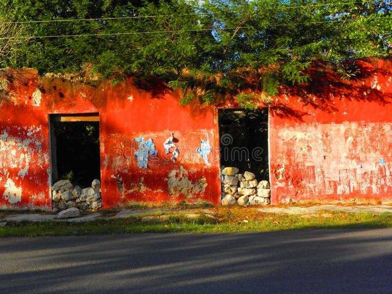 Fachada vermelha de ruínas de uma casa com árvores para dentro em Iucatão, México imagens de stock