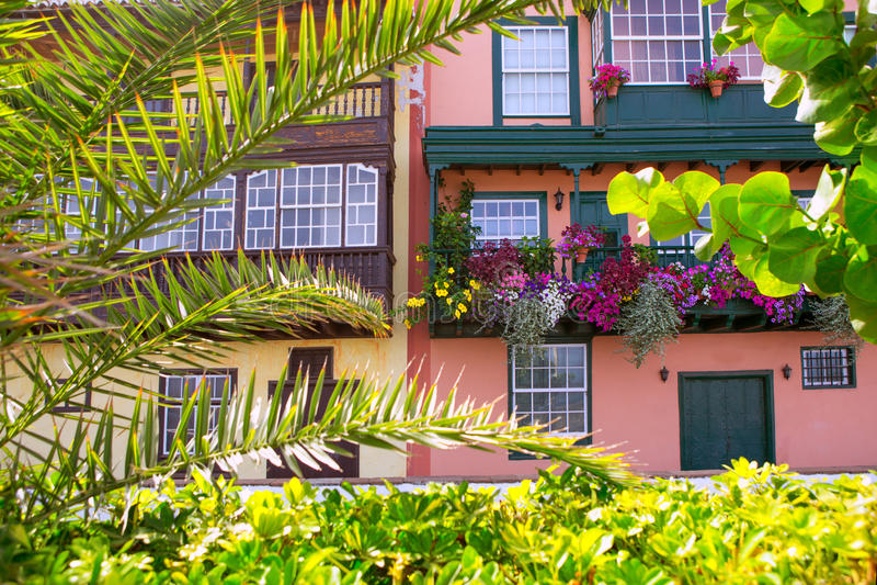 Fachadas coloniais da casa de Santa Cruz de La Palma fotos de stock royalty free