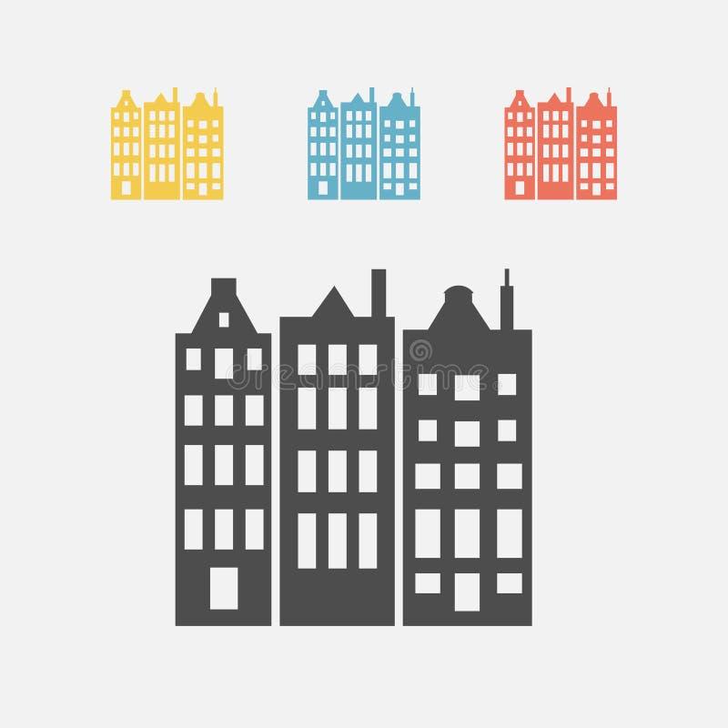 Fachadas coloridas de las casas en el canal de Amsterdam ilustración del vector