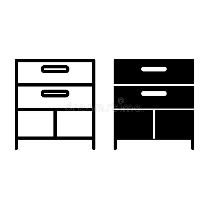 Fachlinie und Glyphikone Kabinettvektorillustration lokalisiert auf Weiß Speicherentwurfsartentwurf, entworfen für vektor abbildung